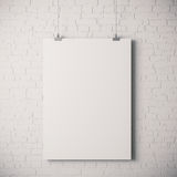 3d blank frame poster. On white wall Stock Photos