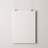 3d blank frame poster. On white wall Stock Image