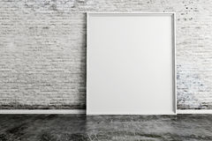 3d blank frame and vintage wall. 3d blank frame and vintage brick wall Royalty Free Stock Image