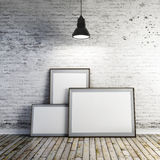 3d blank frame and vintage wall. 3d blank frame and vintage brick wall Royalty Free Stock Photos