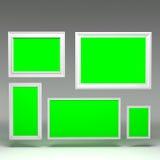 3d blank frames. 3d rendering blank frames on dark background Stock Photo