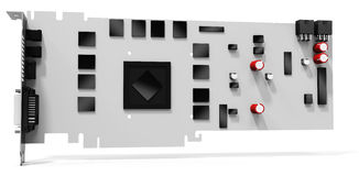 3d blank generic graphic video card. On white background Stock Image