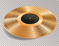 LP 3D golden trans. 3D blank golden LP with black label, vector illustration, vector background Stock Image