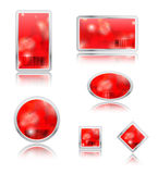 3D blank icons sphere. Red and blank glossy icons Stock Photo