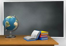 3d blank. 3d illustration of blackboard with books and globe Royalty Free Stock Images