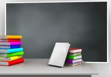 3d blank. 3d illustration of blackboard with books stack and pile of literature Royalty Free Stock Image