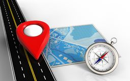 3d blank. 3d illustration of blue map with point icon and compass Stock Photography
