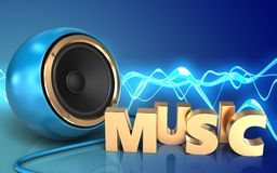 3d blank blank. 3d illustration of blue sound speaker over sound wave blue background with music sign Stock Photos