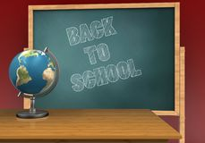 3d blank. 3d illustration of board with back to school text and Stock Photos