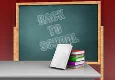 3d blank. 3d illustration of board with back to school text and books stack Stock Photo