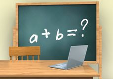 3d blank. 3d illustration of board with math exercise text and laptop computer Stock Photography