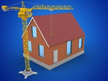 3d blank. 3d illustration of bricks house over blue background with crane Royalty Free Stock Photo