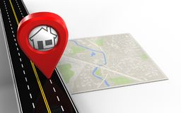 3d blank. 3d illustration of bright map with home pin and Stock Photography