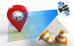 3d blank. 3d illustration of bright map with home pin and satellite digital signal Stock Image