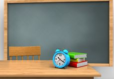 3d blank. 3d illustration of chalkboard with alarm clock and Stock Photography