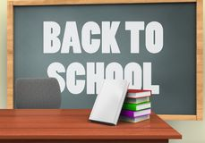 3d blank. 3d illustration of chalkboard with back to school text and books stack Stock Images