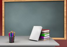 3d blank. 3d illustration of chalkboard with books stack and Stock Photos
