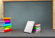 3d blank. 3d illustration of chalkboard with books stackt and pile of literature Stock Image