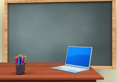 3d blank. 3d illustration of chalkboard with computer text and Royalty Free Stock Photo