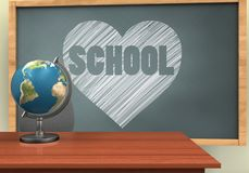 3d blank. 3d illustration of chalkboard with heart and school text and Stock Photo