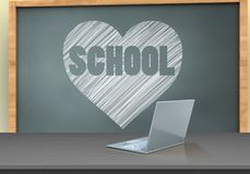 3d blank. 3d illustration of chalkboard with heart and school text and laptop computer Stock Images