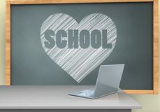 3d blank. 3d illustration of chalkboard with heart and school text and laptop computer Royalty Free Stock Photography