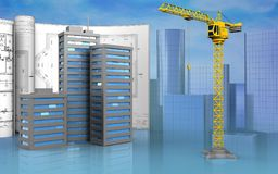 3d blank. 3d illustration of city buildings with drawings over skyscrappers background Stock Photos