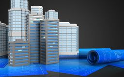 3d blank. 3d illustration of city buildings with urban scene over black background Royalty Free Stock Photos