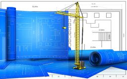 3d blank. 3d illustration of crane with drawing roll over blueprint background Stock Photo