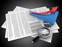 3d blank. 3d illustration of documents and arrow graph over black background Stock Photography