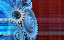 3d blank. 3d illustration of gear over red background with blue gears Stock Photo