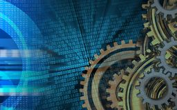 3d blank. 3d illustration of gears system over binary background with Stock Photos