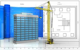 3d blank. 3d illustration of generic building with drawing roll over blueprint background Stock Photo