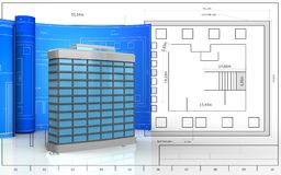 3d blank. 3d illustration of generic building with drawing roll over blueprint background Stock Photography