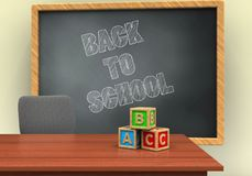 3d blank. 3d illustration of grey chalkboard with back to school text and abc cubes Royalty Free Stock Photo