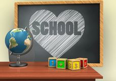 3d blank. 3d illustration of grey chalkboard with heart and school text and math cubes Stock Photography