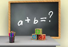 3d blank. 3d illustration of grey chalkboard with math exercise text and abc cubes Stock Photo