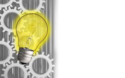 3d blank. 3d illustration of light bulb over white background with gears Stock Photo