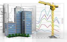 3d blank. 3d illustration of living quarter with drawings over business graph background Stock Images