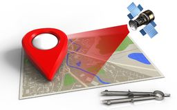 3d blank. 3d illustration of map with point icon and satellite Stock Photos