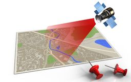 3d blank. 3d illustration of map with red pins and satellite royalty free illustration