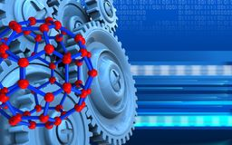 3d blank. 3d illustration of molecular structure over cyber background with blue gears Royalty Free Stock Photography