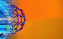3d blank. 3d illustration of molecular structure over orange background with Royalty Free Stock Photography