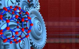3d blank. 3d illustration of molecular structure over red background with blue gears Royalty Free Stock Image