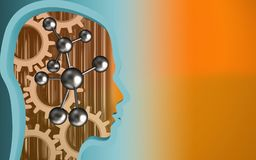 3d blank. 3d illustration of molecule over orange background with gears royalty free illustration