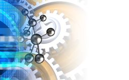 3d blank. 3d illustration of molecule over white background with gears Stock Images