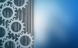 3d blank. 3d illustration of  over blue background with gears Royalty Free Stock Photo