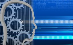 3d blank. 3d illustration of  over cyber background with gears Royalty Free Stock Image
