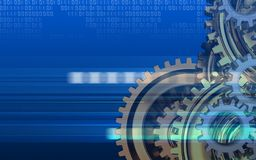3d blank. 3d illustration of  over cyber background with gears system Stock Photography