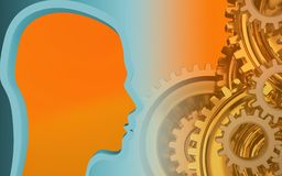 3d blank. 3d illustration of  over orange background with gears system Royalty Free Stock Images